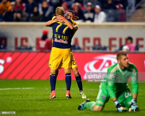New York Red Bulls midfielder Sean Davis and New York Red Bulls midfielder Daniel Royer embrace in celebration after New York Red Bulls midfielder...