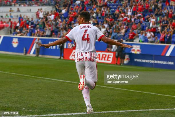 New York Red Bulls midfielder Tyler Adams celebrates after assisting on a goal during the first half of the Major League Soccer game between the New...