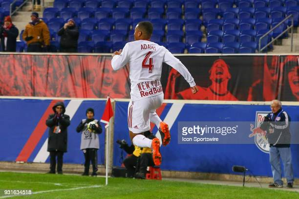 New York Red Bulls midfielder Tyler Adams celebrates after he scores during the first half of the CONCACAF Champions League Quarterfinal match...