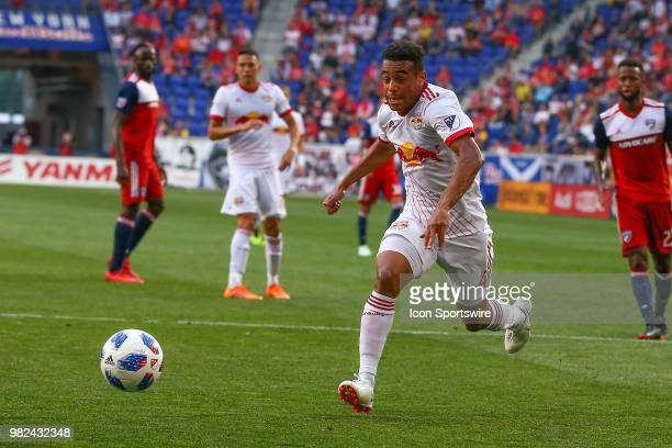 New York Red Bulls midfielder Tyler Adams drives the ball towards goal during the first half of the Major League Soccer game between the New York Red...