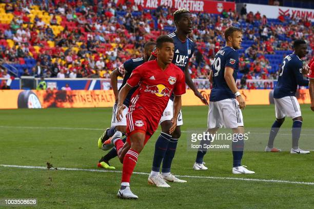 New York Red Bulls midfielder Tyler Adams during the first half of the Major League Soccer game between the New York Red Bulls and the New England...
