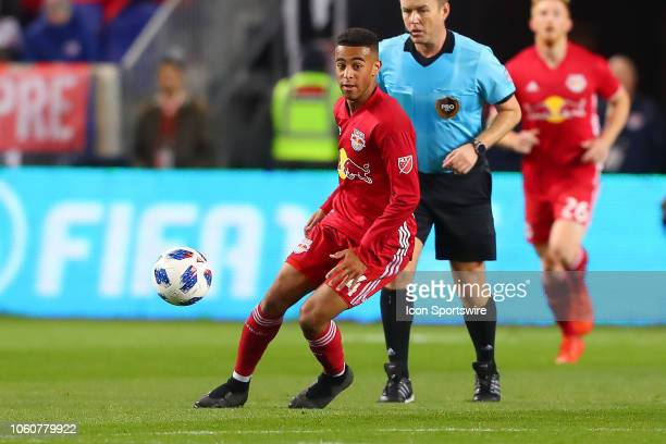 New York Red Bulls midfielder Tyler Adams during the first half of the Major League Soccer Eastern Conference Semifinals between the Columbus Crew SC...