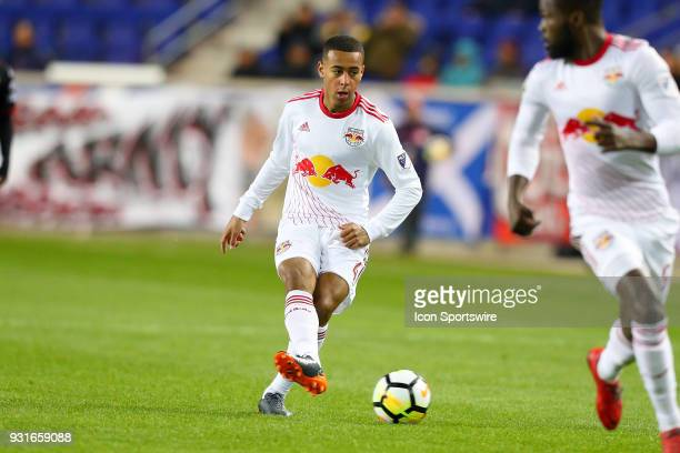 New York Red Bulls midfielder Tyler Adams during the first half of the CONCACAF Champions League Quarterfinal match between the New York Red Bulls...