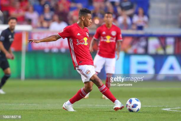 New York Red Bulls midfielder Tyler Adams during the second half of the Major League Soccer game between Sporting Kansas City and the New York Red...