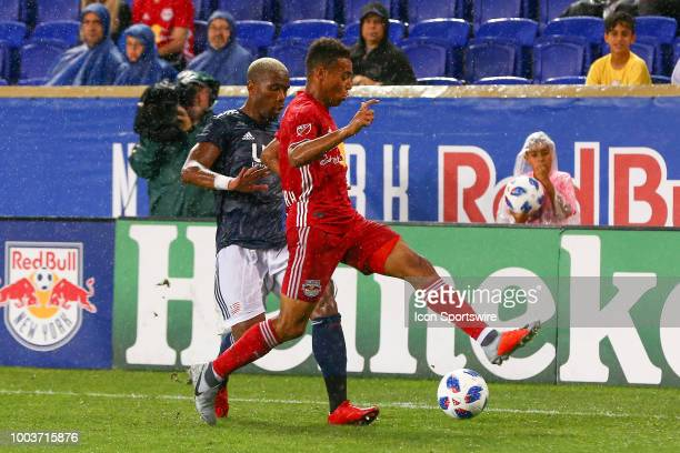 New York Red Bulls midfielder Tyler Adams during the second half of the Major League Soccer game between the New York Red Bulls and the New England...
