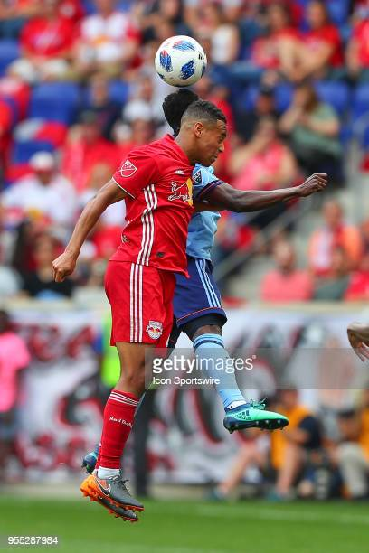 New York Red Bulls midfielder Tyler Adams goes up for a head ball during the second half of the Major League Soccer game between New York City and...