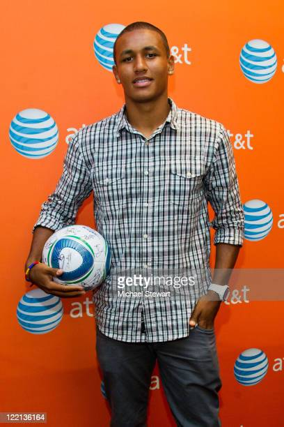 New York Red Bulls player Juan Agudelo attends a meet & greet at the AT&T High Tech Wireless Store on August 25, 2011 in New York City.