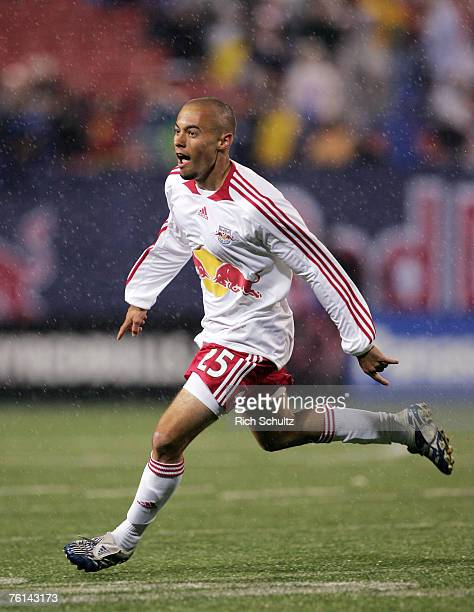 New York Red Bulls' Sal Caccavale reacts after his first MLS goal in the 92nd minute against the Columbus Crew in an MLS game at Giants Stadium in...