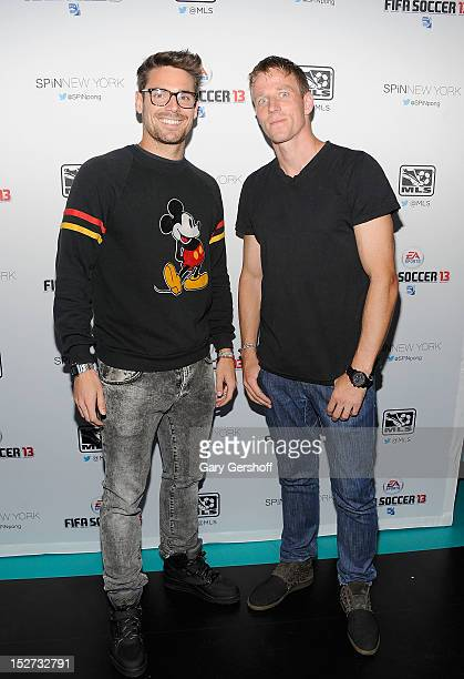 New York Red Bulls soccer players Heath Pearce and Jan Gunnar Solli attend the FIFA 13 Launch Tournament at SPiN New York on September 24, 2012 in...