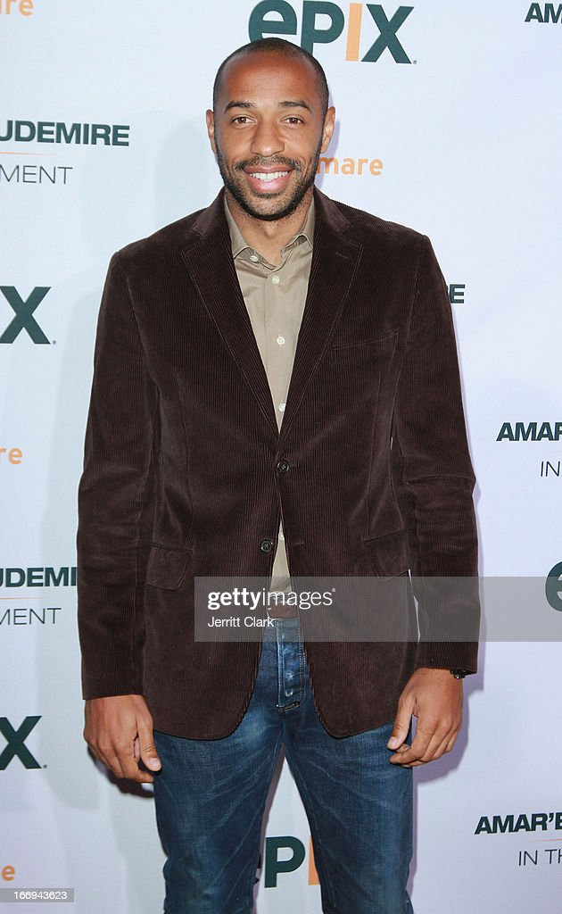 New York Red Bulls soccer star Thierry Henry attends the 'Amar'e Stoudemire: In The Moment' New York Premiere at Marquee on April 18, 2013 in New York City.