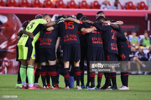 New York Red Bulls starting 11 huddle during the Major League Soccer game between the New York Red Bulls and the Philadelphia Union on September 29,...