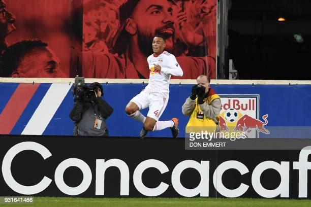 New York Red Bulls' Tyler Adams celebrates during the Concacaf Champions League 2nd Leg Quarterfinal football match between the New York Red Bulls...