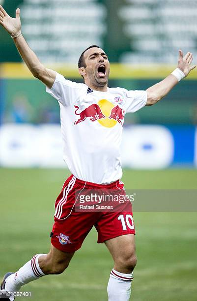 New York Red Bulls' Youri Djorkaeff celebrates scoring his team's first goal against DC United at RFK Stadium in Washington DC on Sunday April 2 2006...