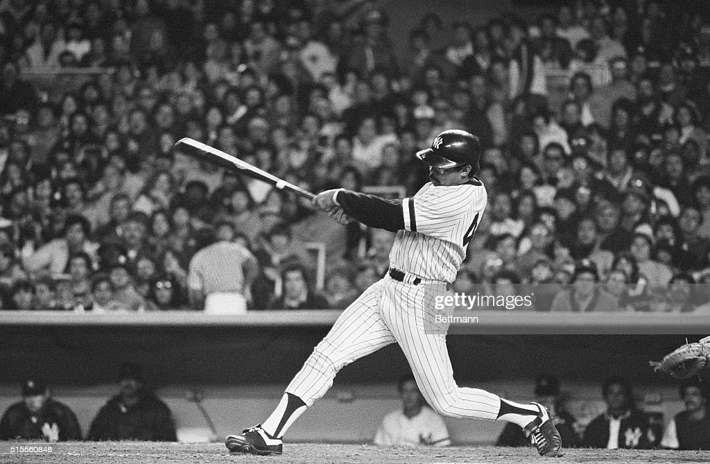 Reggie Jackson connects for a two-run homer in the fourth inning to tie the score in the AL mini-playoff final game. The Yanks scored four runs in the inning to take a 4-2 lead over Milwaukee.