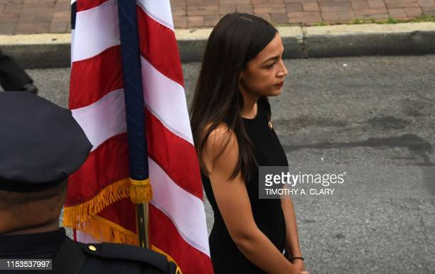 New York Rep Alexandria OcasioCortez is seen outside after the funeral mass at Immaculate Conception Church in Astoria Queens New York on July 3 2019...