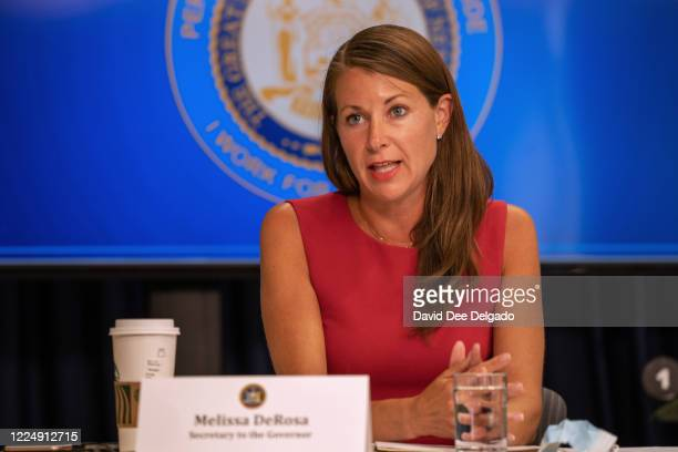 New York Secretary to the Governor Melissa DeRosa speaks during a COVID19 briefing on July 6 2020 in New York City On the 128th day since the first...