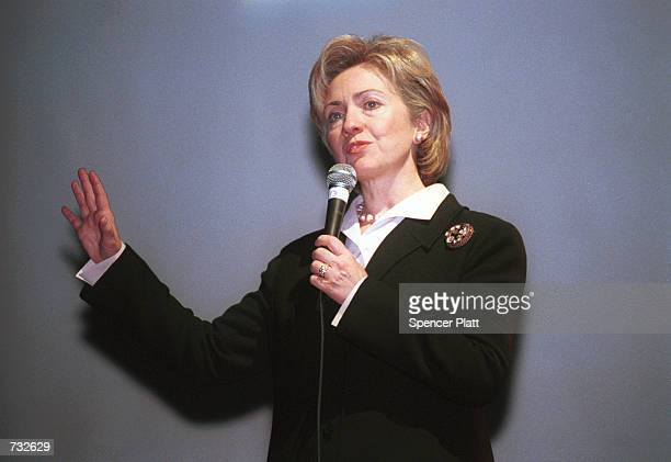 New York Senate candidate Hillary Clinton speaks at Webster Hall October 18, 2000 in New York City.