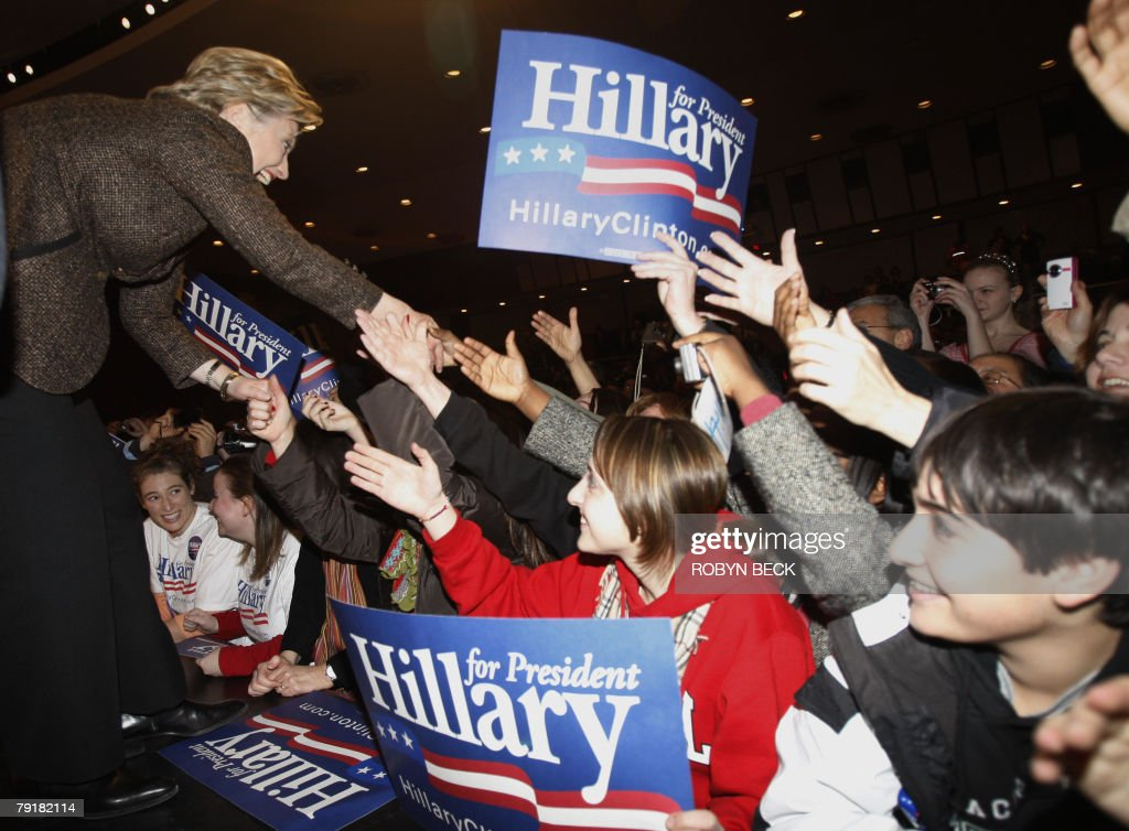 New York Senator and Democratic presidential hopeful Hillary Rodham Clinton greets young supporters at a campaign rally at Bergen County Academies in Hackensack, NJ, 23 January 2008.