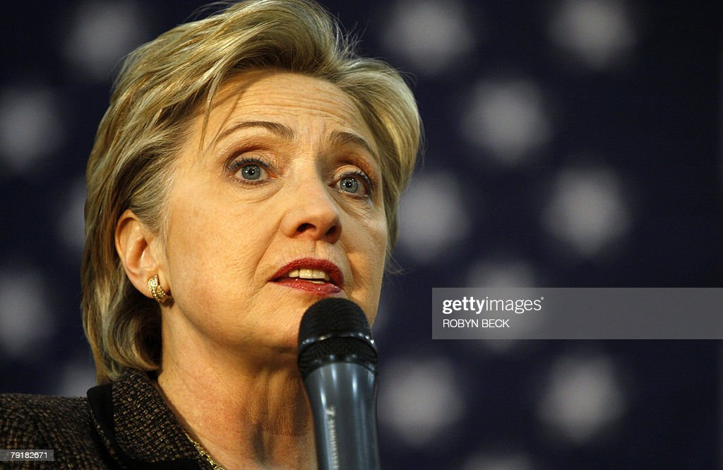 New York Senator and Democratic presidential hopeful Hillary Rodham Clinton speaks at a campaign rally at Bergen County Academies in Hackensack, NJ, 23 January 2008.