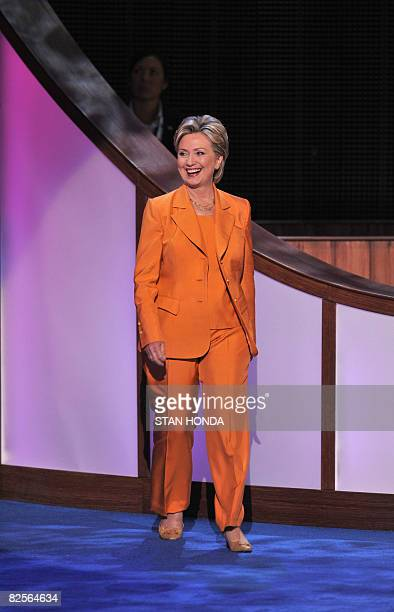 New York Senator and former presidential candidate Hillary Clinton arrives on the stage of the Democratic National Convention at the Pepsi Center in...