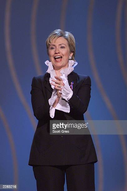 New York Senator Hillary Rodham Clinton onstage at the 2001 VH1 Vogue Fashion Awards at Hammerstein Ballroom in New York City 10/19/01 Photo by Scott...