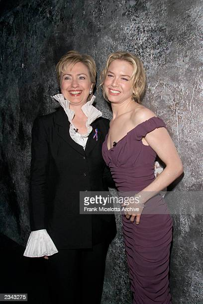 New York Senator Hillary Rodham Clinton with Actress Renee Zellweger at the 2001 VH1 Vogue Fashion Awards at Hammerstein Ballroom in New York City...