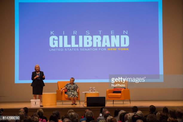 New York Senator Kristen Gillibrand Holds Town Hall in Syracuse NY on July 14 2017 taking questions from the public on health care the military and...