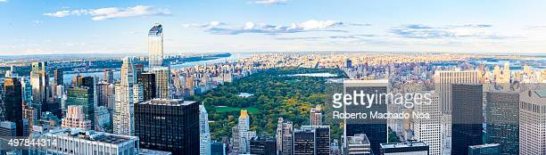 New York sightseeing and attractions Panoramic view of New York city skyline from the Rock Observatory New York has architecturally significant...