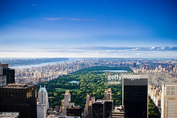new york skyline aerial at day - central park stock pictures, royalty-free photos & images