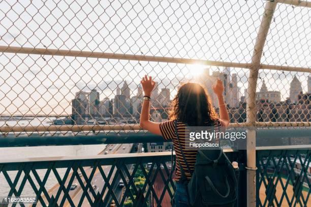 horizon de new york au coucher du soleil - lower east side photos et images de collection