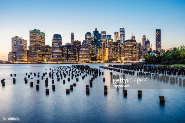 new york skyline at sunset - dumbo stock photos and pictures