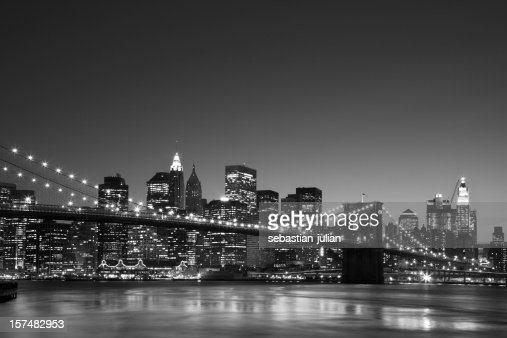 New York Skyline Brooklyn Bridge In Front Black And White ...