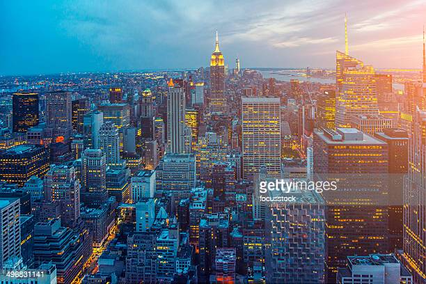 new york skyline - broadway manhattan stock photos and pictures