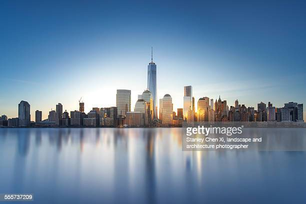 new york skyline - lower manhattan stock photos and pictures