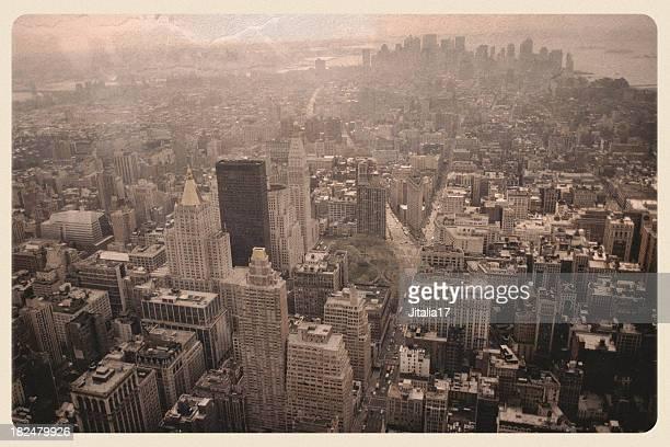 New York Skyline Post 9/11 - Sepia Postcard