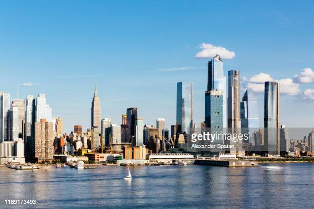 new york skyline with hudson river and hudson yards, usa - chelsea new york stock pictures, royalty-free photos & images