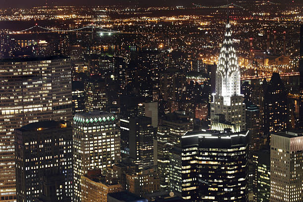 New York Skyscraper And Chrysler Building At Night Wall Art