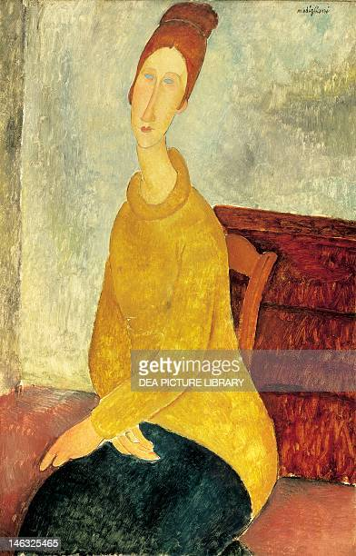 New York Solomon R Guggenheim Museum Jeanne Hebuterne in a yellow sweater 19181919 by Amedeo Modigliani Oil on canvas 100x645 cm