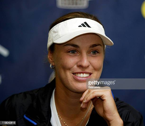 New York Sportimes' Martina Hingis during a press conference at Westside Tennis Club July 16 2005 in Houston Texas