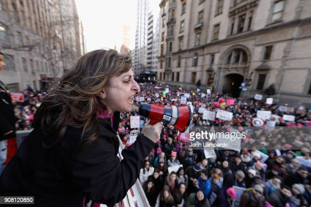 New York State Assembley woman Christine Pellegrino speaks to the crowd during the 2018 Women's March in New York City on January 20 2018 in New York...