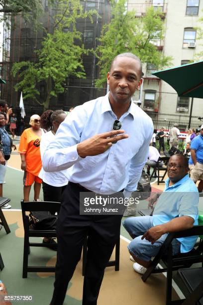 New York State Assemblyman Walter T Mosley attends the ribbon cutting ceremony at Crispus Attucks Playground on August 2 2017 in the Brooklyn borough...