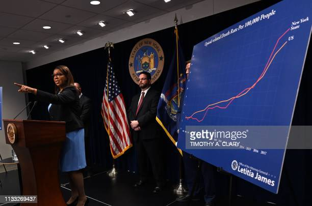 New York State Attorney General Letitia James holds a press conference at the Office of the Attorney General in New York March 28 2019 James...