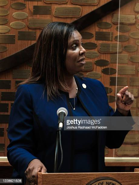 New York State Attorney General Letitia James speaks at a news conference about the ongoing investigation into the death of Daniel Prude on September...