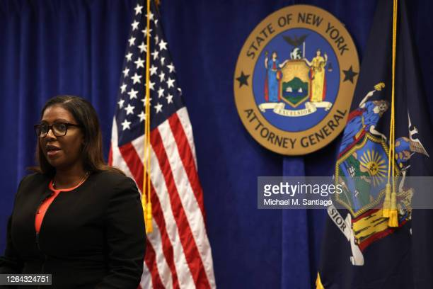 New York State Attorney General Letitia James speaks during a press conference announcing a lawsuit to dissolve the NRA on August 06, 2020 in New...