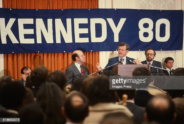 New York State Attorney General Robert Abrams Ted Kennedy and New York State Senator Manfred Ohrenstein attends a 1980 presidental campaign rally for...