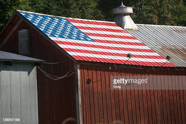 USA, New York State, Chester, Barn with American Flag on roof