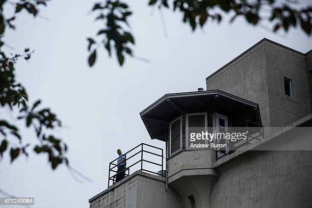 New York State Corrections officers man the guard towers at Clinton Correctional Facility where two convicted murderers escaped from the prison on...