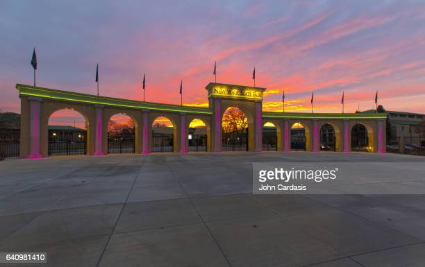 new york state fairgrounds entrance at sunset - syracuse new york stock pictures, royalty-free photos & images