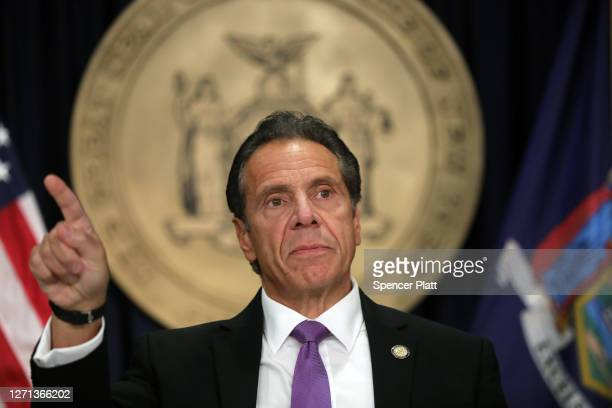 New York state Gov. Andrew Cuomo speaks at a news conference on September 08, 2020 in New York City. Cuomo, though easing restrictions on casinos and...