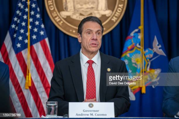 New York state Gov Andrew Cuomo speaks during a news conference on the first confirmed case of COVID19 in New York on March 2 2020 in New York City A...